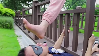 Beautiful Chinese teen with cute white sock fetish