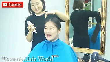 Chinese girl silky hair shaved