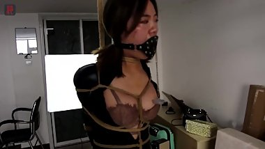 asian bondage plug gagged vibed in catsuit