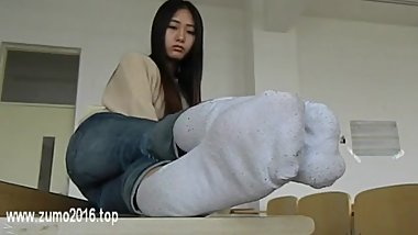 Chinese Foot Tickle White Socks Bare Feet & Nylon