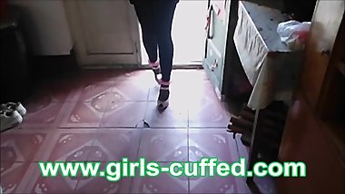 Chinese Girl Try Furry Handcuffs