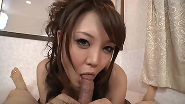 Asian girl sucking a tiny dick