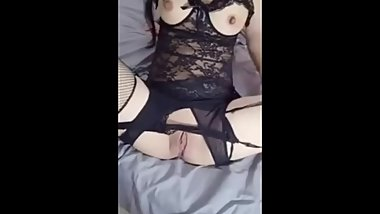 black stocking chinese babe dildo masturbation