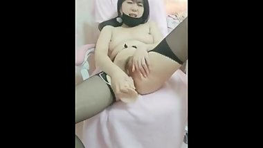 black stocking big tits chinese teen fuck herself with a big dildo