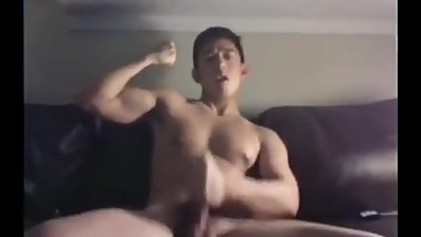 Hung Korean Jock Flexes and Cums on Cam