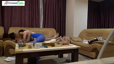 Hot chinese couple blue stocking XCC2316