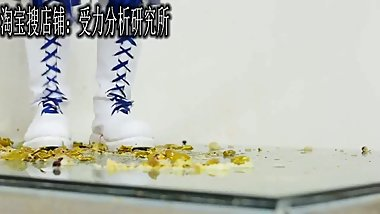 chinese food trample stomping in messy latex boots