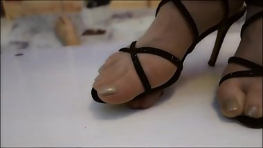 Chinese femdom sexy high heels cock trample