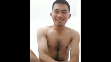 Playful Handsome Hairy Asian Hunk Guy Boy Naked Nude Uncut Cock Dick
