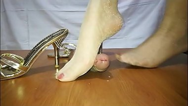 Chinese femdom cock trample shoejob footjob amaszing cumshot