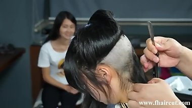 Two Chinese Girls Waist Length to Under Shaved Bob haircut