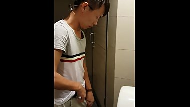 Chinese Asian Boy Male Pissing Pee Public Urinal Cut Cock