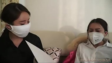 Asian Girl, Gagged, Masked and Chairtied by woman