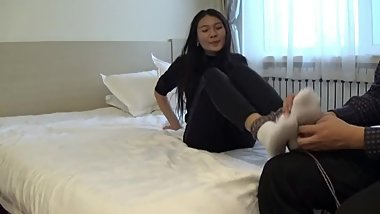 chinese girl tickling with white socks