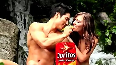 Asian Mongoloid Dude and White Chick as Adam and Eve in Doritos Commercial!