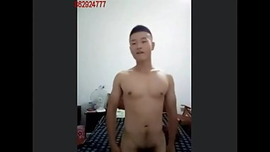 Chinese army military guy wanking