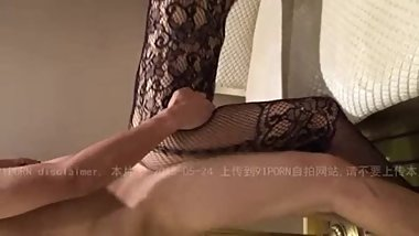 Chinese Girl in Fishnet Stocking Doggy Creampie