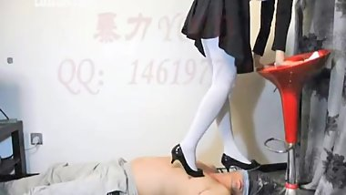 Black Heels and White Pantyhose Trample
