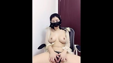 Busty Chinese Cam Girl Striptease & Masturbate
