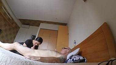 Hot Korean milf gives me massage and nice blowjob