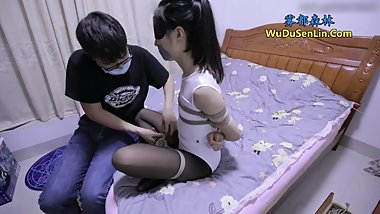 Chinese bondage white tights