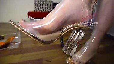 Chinese Very hot foot worship drinking from shoe