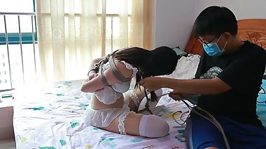 Chinese White Lingerie and pantyhose rope bondage on bed