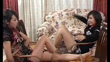 Chinese girls tied and foot tickled