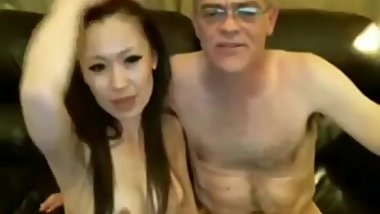 Sexy Chinese milf and Older white man have bareback sex on webcam
