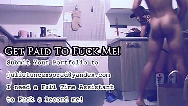 Amateur BTS Kitchen Fuck: Getting Fucked While I'm High Eating Spaghetti