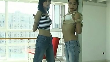 cutes models in a chinese bondage photoshoot