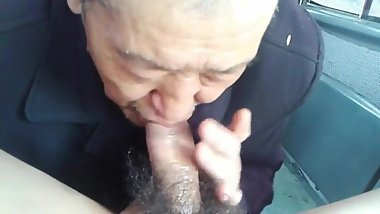 Chinese daddy suck cock