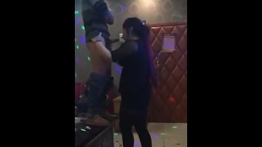 chinese standing blowjob in club