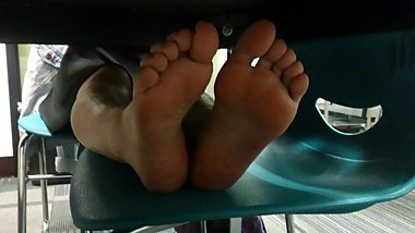 Candid Chinese Girl's Soles Propped Up Under The Table