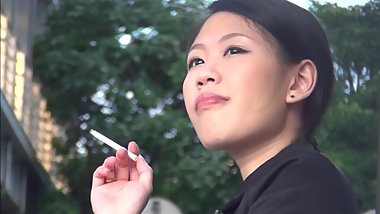 Voyeur Asian Girl Smoking