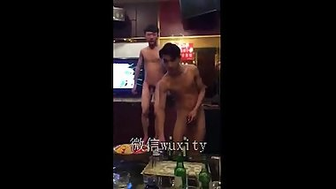 Chinese money boy having fun in KTV