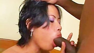 Shy asian hooker getting creampied by a big black cock